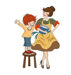 funny boy and his mother isolated on white vector image