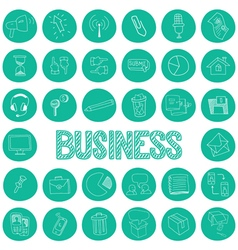 Hand drawn icons set of business vector