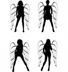 winged girls vector image vector image