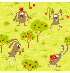 1498bunnies and apples vector image vector image
