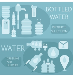 Bottled water flat design horizontal banners vector