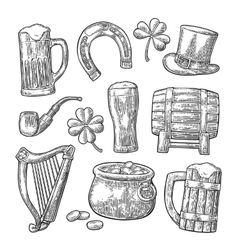 Saint Patrick Day hat Pot coins pipe beer vector image vector image