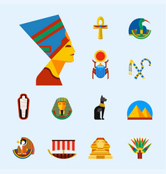set of flat design egypt travel icons vector image vector image