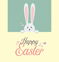 white rabbit with happy easter sign vector image