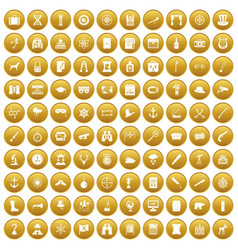 100 binoculars icons set gold vector