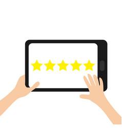 5 golden stars custumer review satisfaction vector image