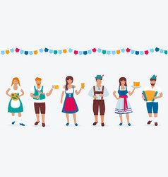 A group people in traditional german costumes vector