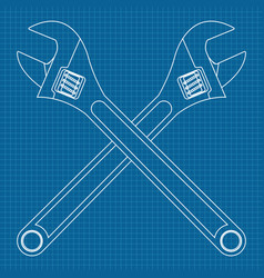 adjustable wrench crossed icons vector image
