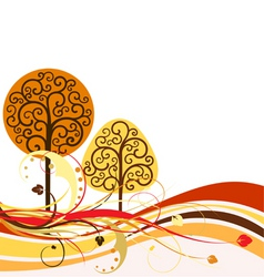 Backdrop with swirly trees vector vector