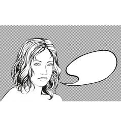beautiful woman speak fram bubble hand drawn vector image