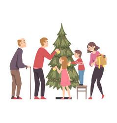 big happy family decorating christmas tree vector image