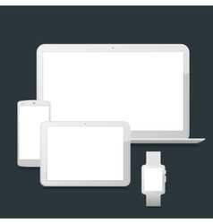 Blank laptop smartphone tablet and smartwatch vector image