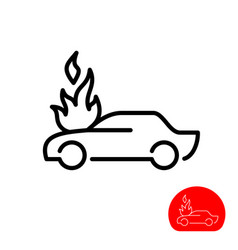 burning car icon car line style silhouette vector image