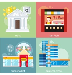 Business center supermarket bank fast food vector image