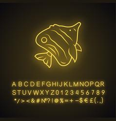 Butterflyfish neon light icon swimming fish vector