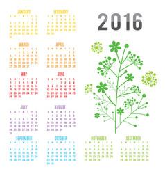calendar 2016 flower vector image