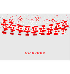 canada garland flag with confetti vector image