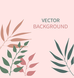 card with plants leaves and copy space vector image