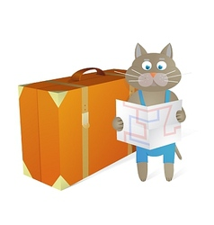Cartoon cat traveling at vacations vector image