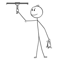 Cartoon of man cleaning window with squeegee vector