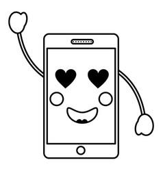 cellphone kawaii icon image vector image