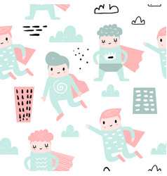Childish seamless pattern with boy super hero vector
