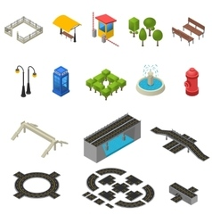 City Isometric Icons Set vector image