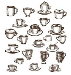 coffee cups and mugs set vector image