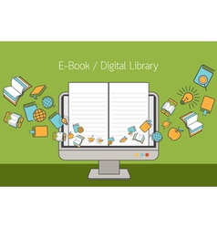 Computer Monitor and Linear Icons with E-Book vector image