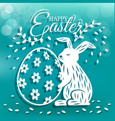 cute bunny and egg for easter day greeting card vector image