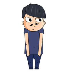 cute cartoon young man with jealous emotions vector image