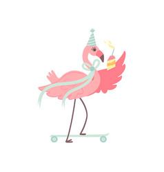 cute flamingo wearing party hat skateboarding with vector image