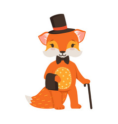 cute orange fox gentleman character funny cartoon vector image