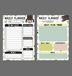 Daily planners set with a funny sloth vector