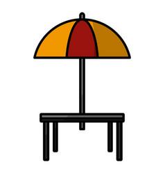 Desk and umbrella restaurant vector
