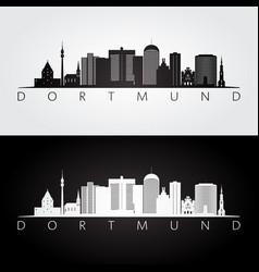 Dortmund skyline and landmarks silhouette vector