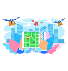 Drones delivering parcel to city hand with tablet vector