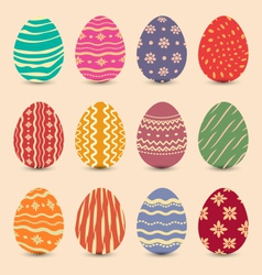 Easter set vintage ornate eggs with shadows vector image