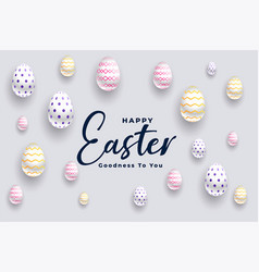 elegant 3d eggs happy easter festival background vector image
