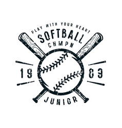 Emblem of softball junior team vector