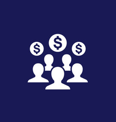 Employee cost or salary icon on dark vector