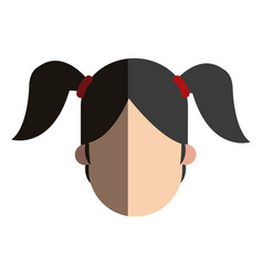 Faceless head girl child ponytails people image vector