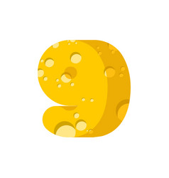 figure 9 cheese font numeral nine of cheesy vector image