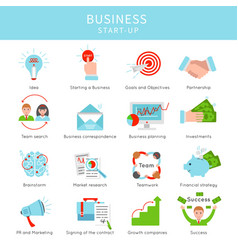 Flat business project startup elements set vector