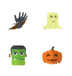 Flat icon halloween set of monster gourd zombie vector