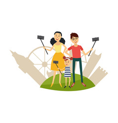 flat selfie on vacation family concept vector image