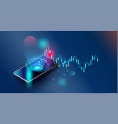 Futuristicsmartphones controls stock market forex vector
