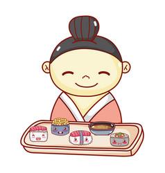Geisha with tray sushi soup rice food japanese vector