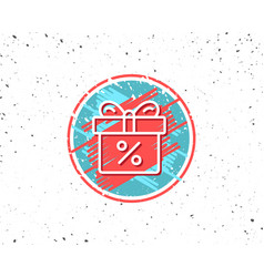 gift box with percentage line icon present vector image