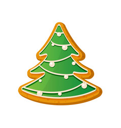 gingerbread fir tree christmas ginger bread vector image